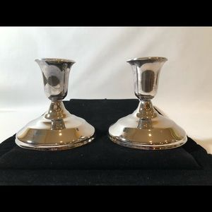 SILVER Plate candle stick holder pair
